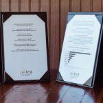 Kiểu menu để bàng bằng da tại các nhà hàng