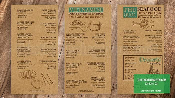 In menu bằng giấy kraft