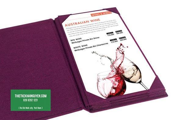 Menu bìa vải khổ lỡ - menu rượu