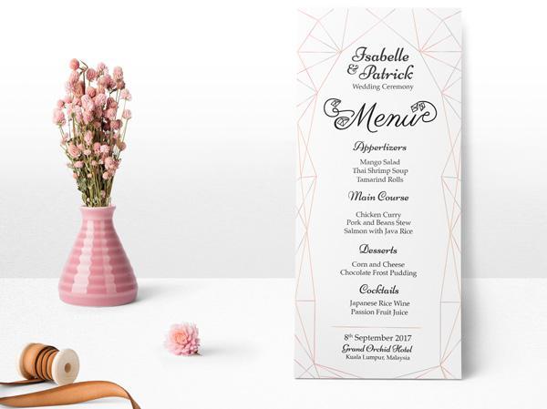 Mẫu menu tiệc cưới ép kim cao cấp