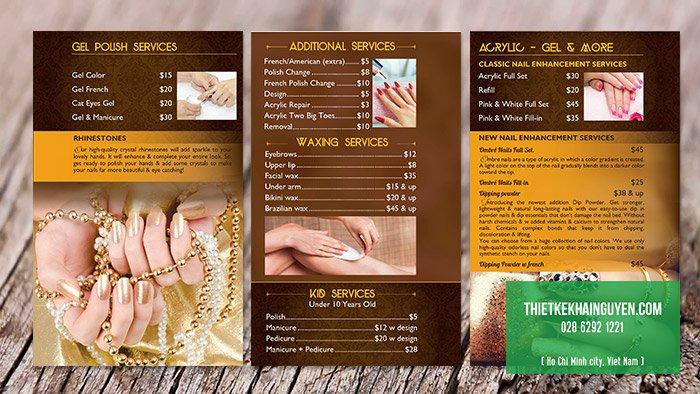 Thiết kế menu Ispa Nails đẹp
