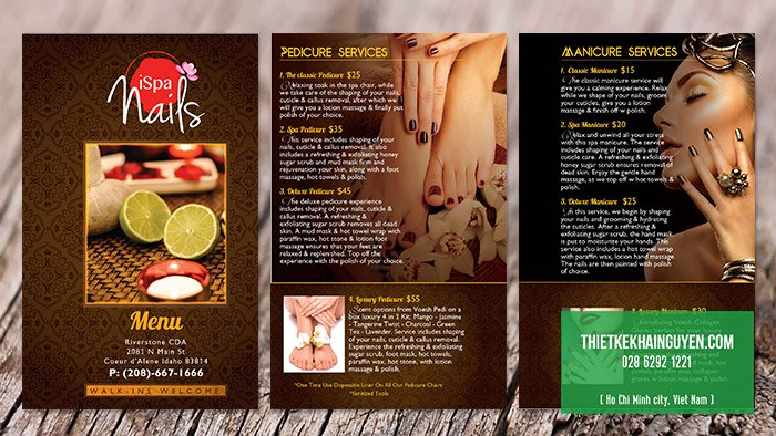 Thiết kế menu Ispa Nails tại Mỹ