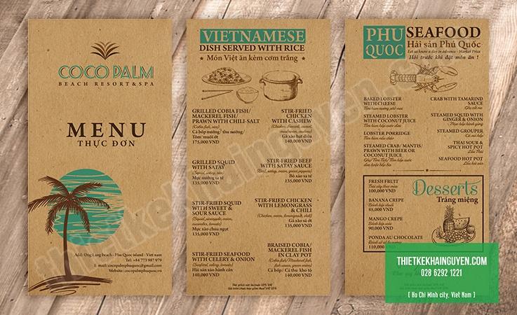 Thiết kế menu khổ lỡ - menu cocopalm