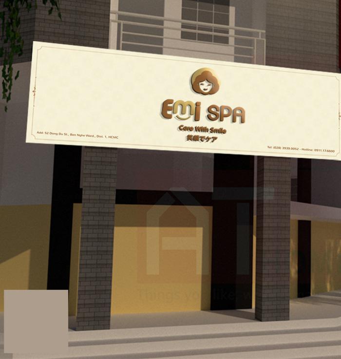 Mockup thiết kế bảng hiệu Emi spa