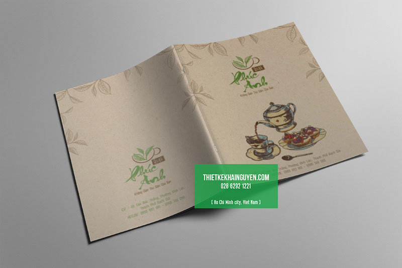 Thiết kế bìa menu quán trà Phúc Anh Quán