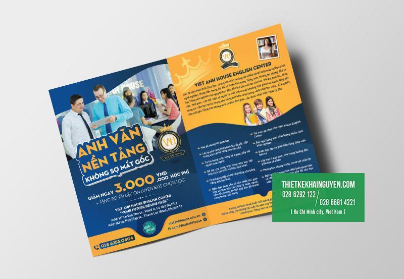 Mẫu brochure trung tâm anh ngữ - brochure gấp đôi(bi-fold brochure)