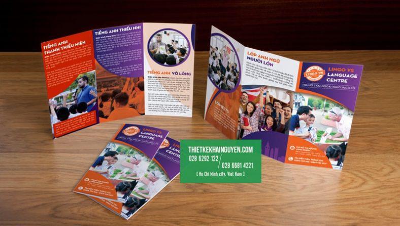 Thiết kế brochure anh ngữ A4 gấp 3