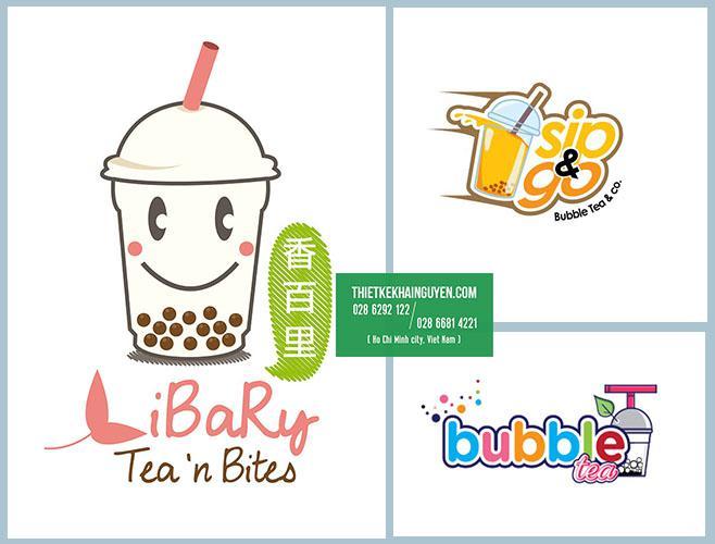 Mẫu logo trà sữa đẹp với hình tượng ly trà sữa