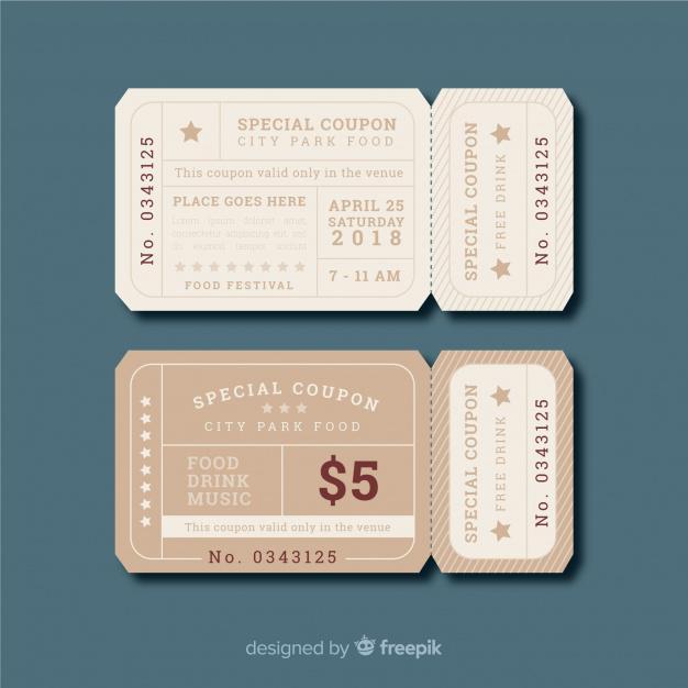 Mẫu coupon đẹp với hình dạng vé máy bay