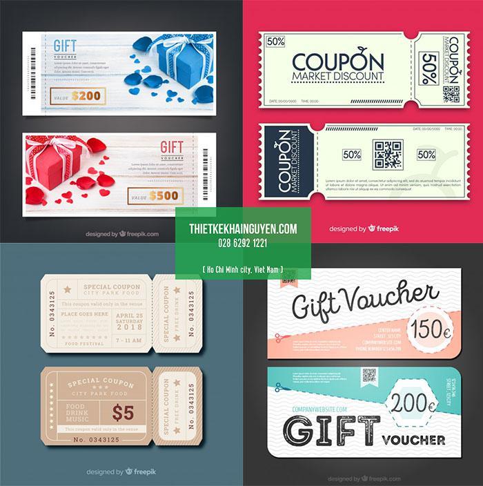 4 mẫu discount coupon với mã vạch, qr code