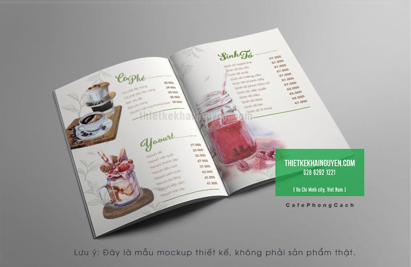 Thiết kế menu cafe dạng màu nước siêu đẹp