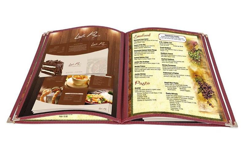 In menu bìa kiếng dạng cuốn - kích thước A4