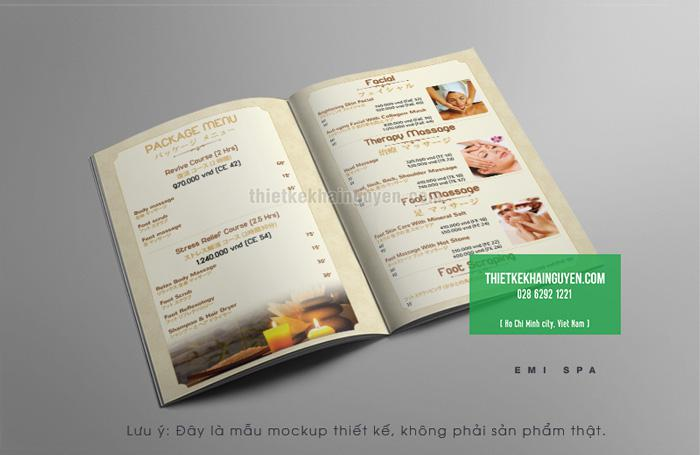 Mẫu thiết kế menu Emi Spa Phần 2
