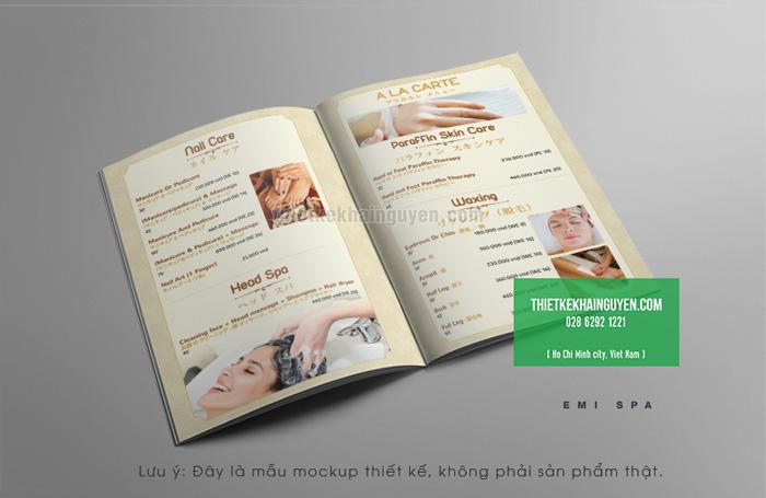 Thiết kế menu Emi Spa Phần 1