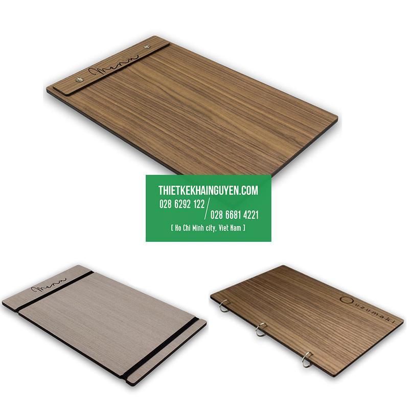 Menu bìa gỗ - mẫu menu cover sang trọng