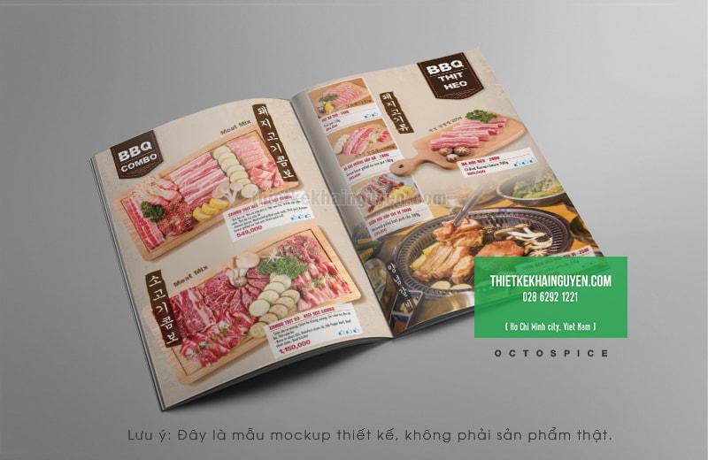 Thiết kế menu Hàn Quốc - Nhà hàng BBQ
