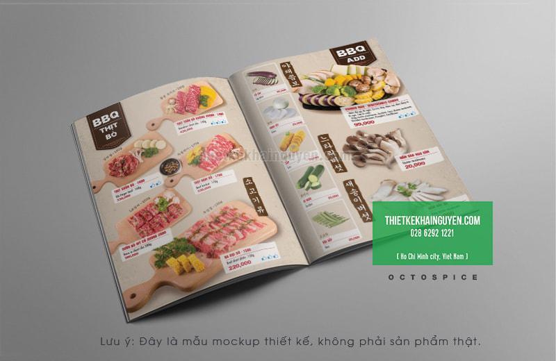 Mẫu menu BBQ Hàn Quốc