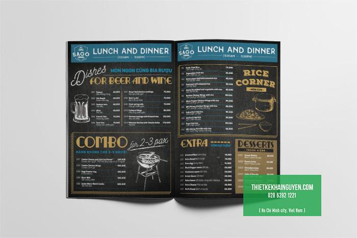 Thực đơn nhà hàng thiết kế theo phong cách Bistro