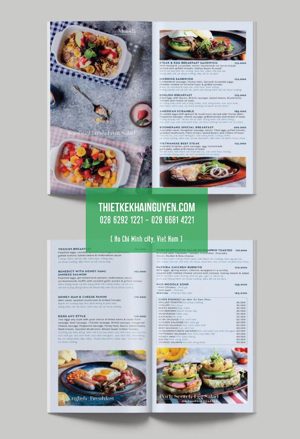 Mẫu thiết kế thực đơn nhà hàng - cuốn menu Breakfast