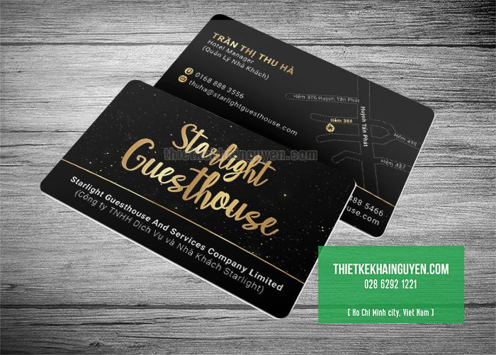 Mẫu in name card nhựa cao cấp của - Starlight Guesthouse