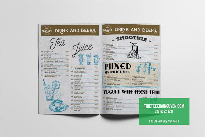 Thiết kế menu nhà hàng Bistro tại TPHCM