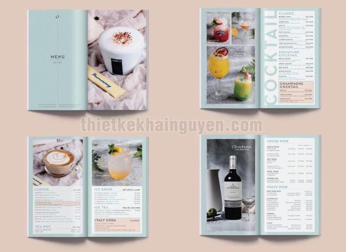 Thực đơn nước trong menu nhà hàng