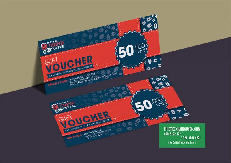 Mẫu gift voucher của quán cafe grind tại TPHCM