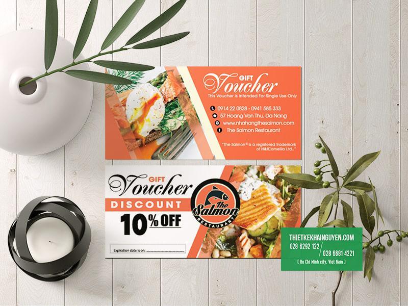 Thiết kế voucher đẹp của nhà hàng Salmon tại ĐÀ NẴNG