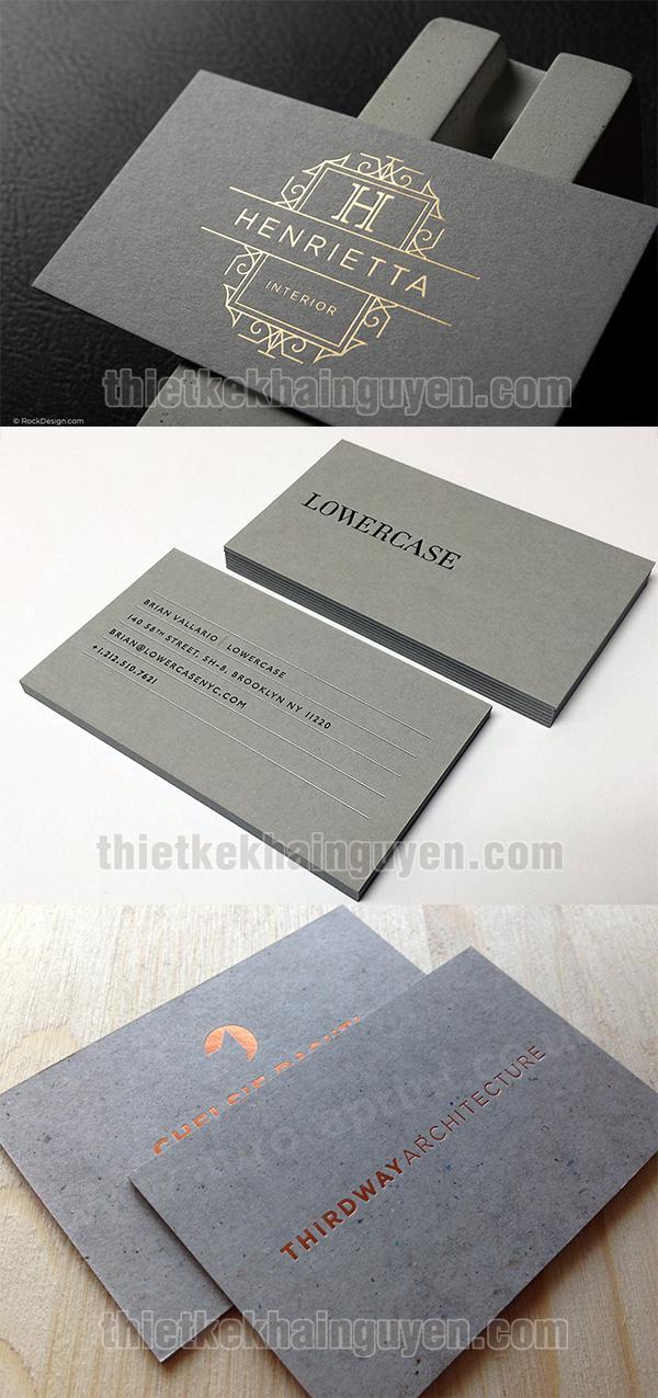 Danh thiếp ép kim trên nền giấy mỹ thuật màu tối