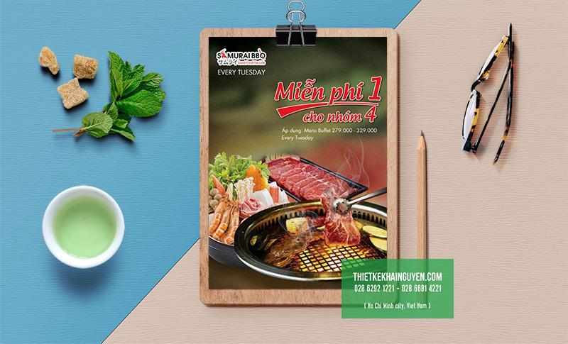 Mẫu thiết kế flyer khuyến mãi của nhà hàng BBQ