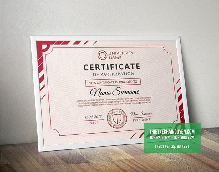 Mẫu giấy chứng nhận với phong cách thiết kế hiện đại