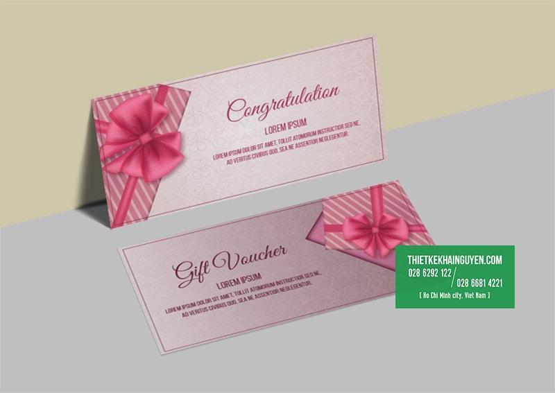 Mẫu gift voucher đẹp màu hồng đáng yêu cho shop thời trang