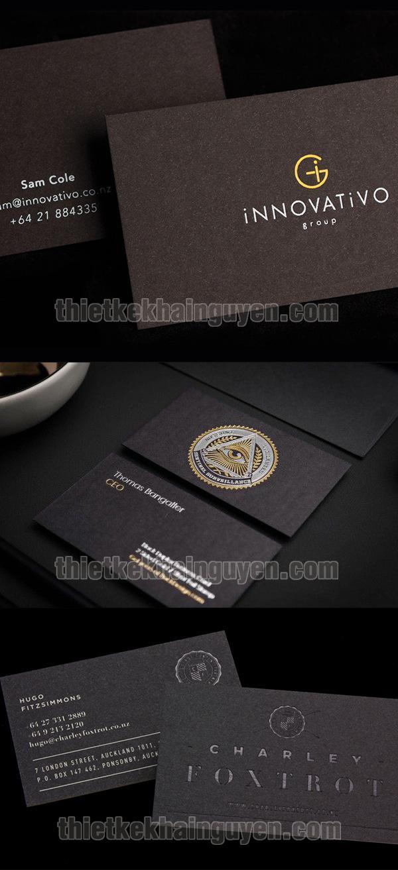 Mẫu name card ép kim đẹp với giấy mỹ thuật màu tối