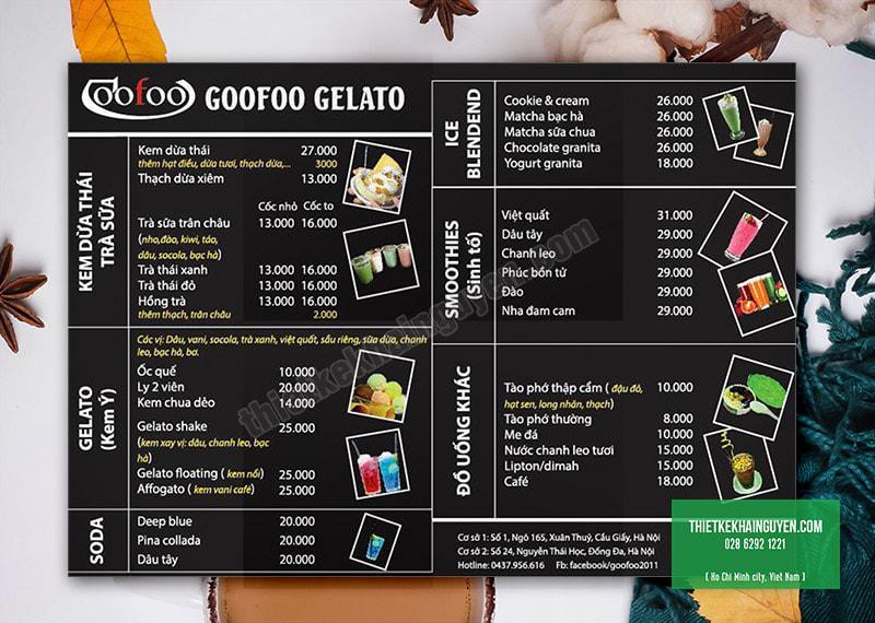 Thiết kế menu kem A3 - phong cách bảng đen