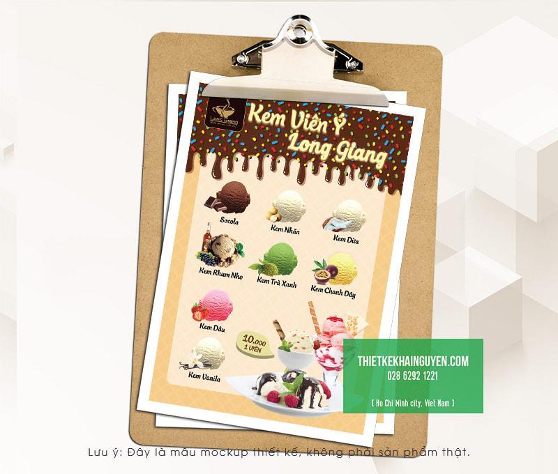 Thiết kế menu kem đẹp với hình ảnh thực tế