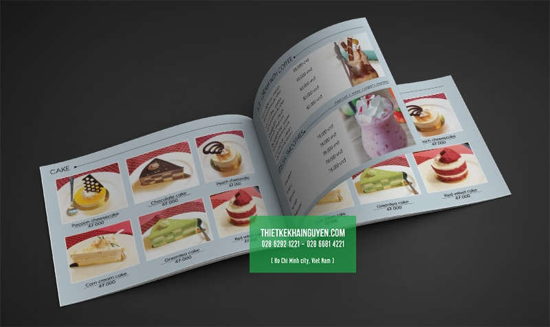 Thiết kế menu bánh ngọt của quán cafe TRẦM