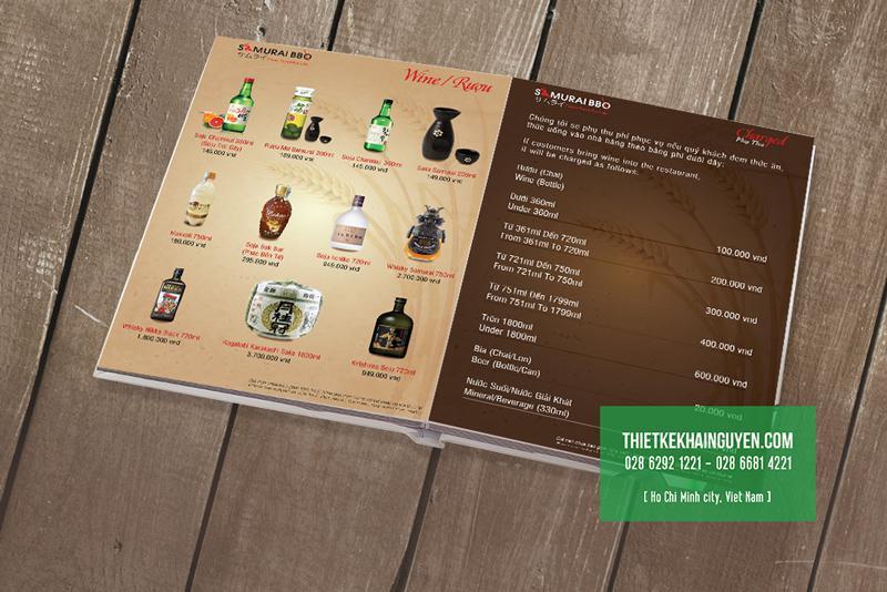 Thiết kế menu nước uống cho nhà hàng BBQ phần 2