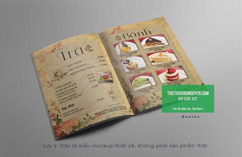 Thiết kế menu trà & bánh của quán cafe TRẦM tại SÀI GÒN