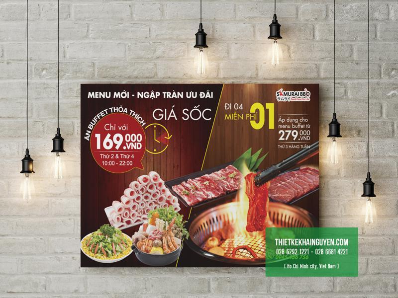 Thiết kế poster khuyến mãi cho sự kiện của nhà hàng SAMURAI BBQ