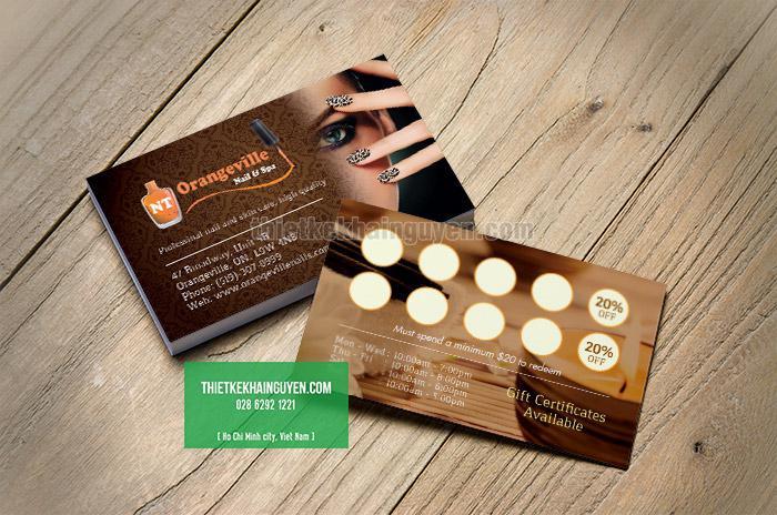 Thẻ tích điểm giảm giá cho tiệm nails