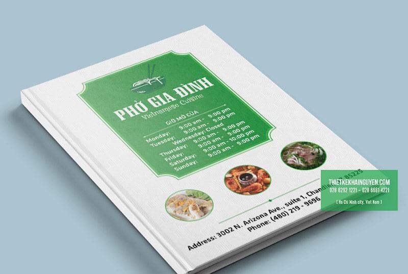 Thiết kế bìa menu Phở Gia Định