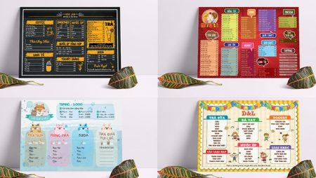 Bảng menu trà sữa A3, A4 với thiết kế đẹp và hot nhất