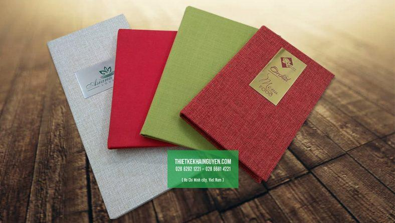 In menu bìa vải - thực đơn bìa vải đẹp