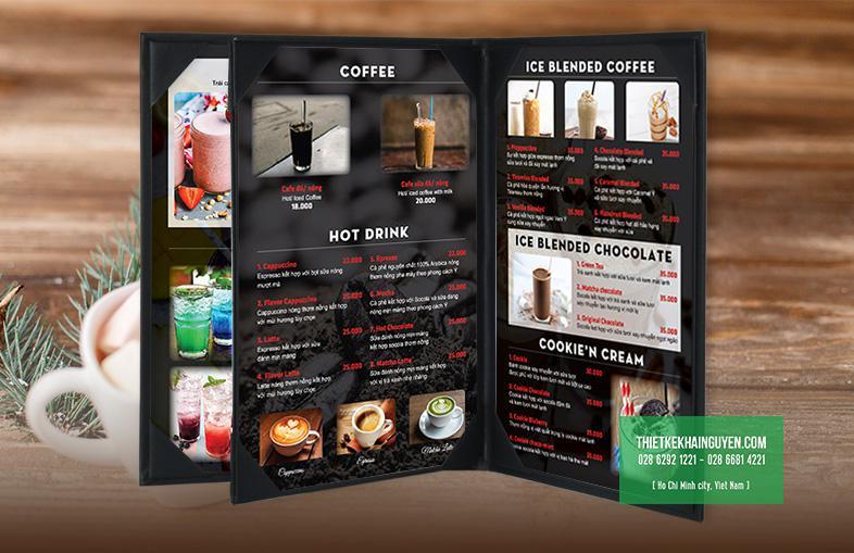 Mẫu thiết kế menu coffee đẹp được mockup trên bìa da