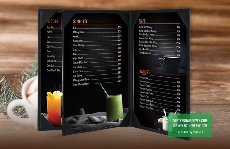 Thiết kế menu cafe với tone màu đen mạnh mẽ & huyền bí