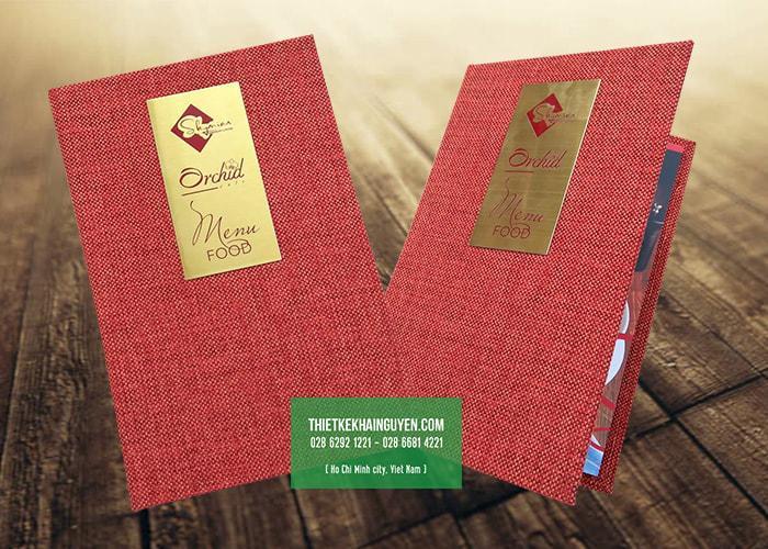 Dạng bìa menu vải đóng gáy còng cho nhà hàng