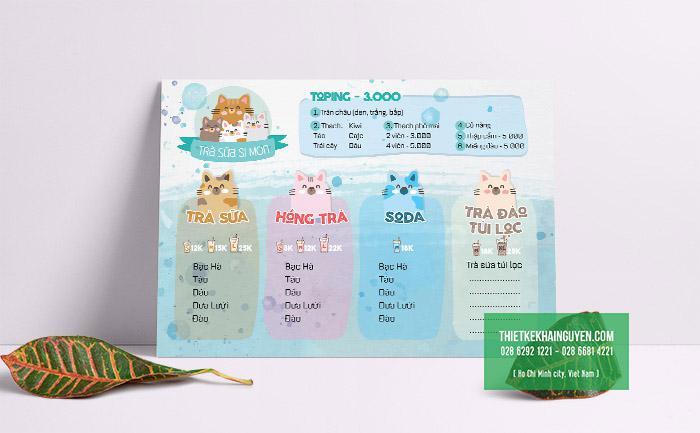 Mẫu thiết kế menu bảng trà sữa A3 cute