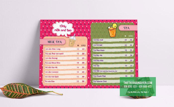 Thiết kế menu trà sữa chấm bi dễ thương