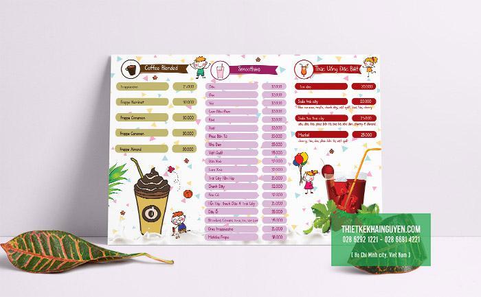 Thiết kế menu trà sữa sử dụng hình vẽ ấn tượng