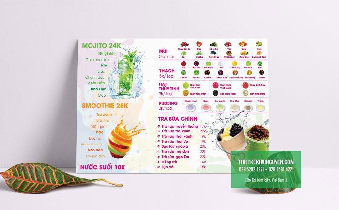 Bảng menu trà sữa khổ A3